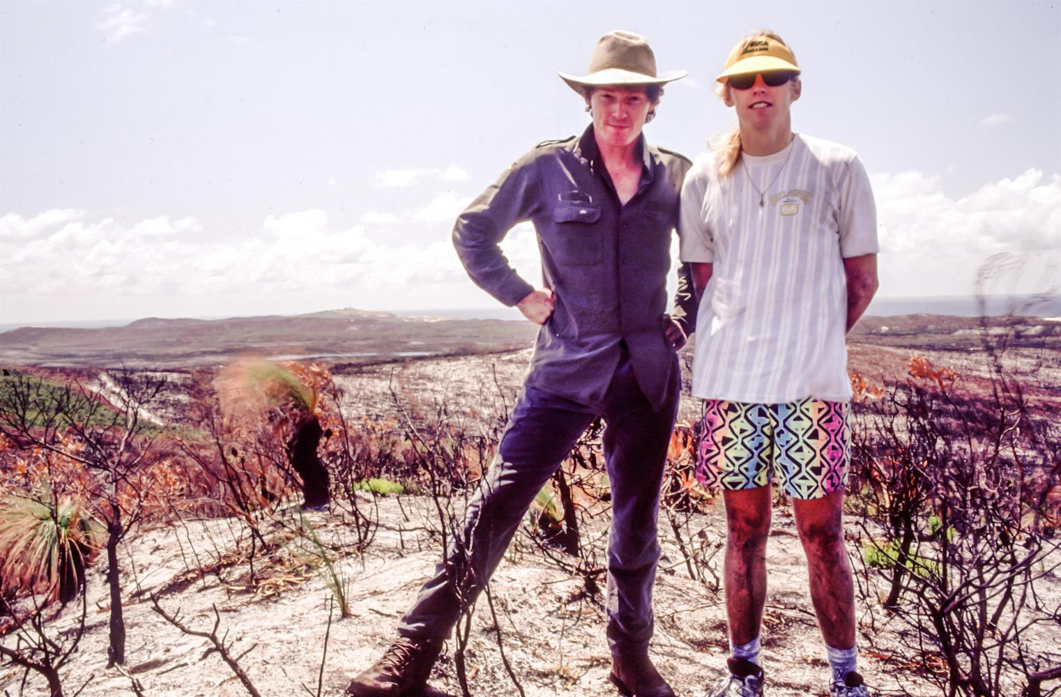 Walking the ancient sand dunes, with Stew, 1991. Moreton Island.